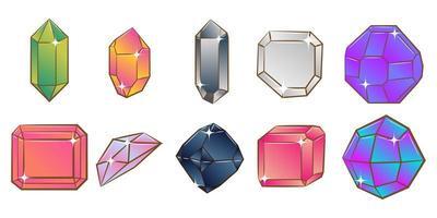 set di cristalli multicolor vettore