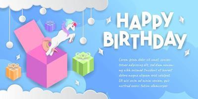 sfondo di buon compleanno con unicorno che esce dalla scatola vettore