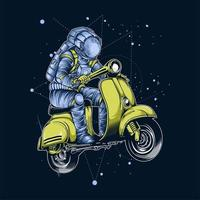 astronauta cavalcando scooter spaziale vettore