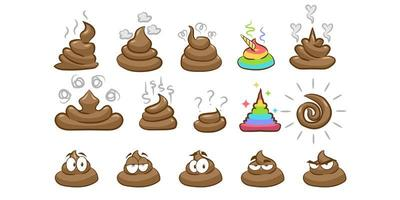 set di emoji cacca vettore