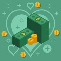 pile di contanti e monete sullo sfondo del cuore