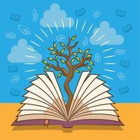 libro con disegno ad albero vettore