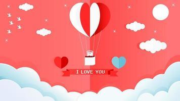 san valentino di carta 3d con l'aerostato di aria calda del cuore con l'uomo e la donna