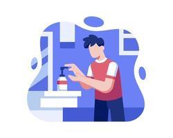 uomo che si lava le mani