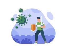 uomo che combatte il coronavirus con spada e scudo vettore
