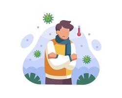uomo con la febbre