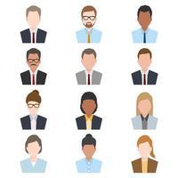stile piatto set di avatar di persone vettore