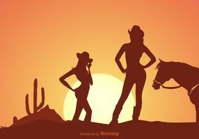 Siluetta dei Cowgirls al vettore di tramonto