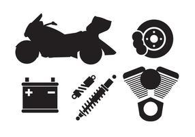 Insieme di componenti del motociclo nel vettore