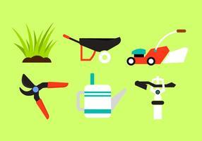 Insieme vettoriale di oggetti da giardino