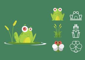 Insieme verde dell'icona della rana di albero vettore