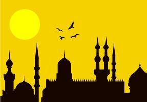 eid al-fitr silhouette della città vettore