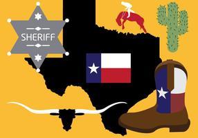 Raccolta di simboli del Texas nel vettore
