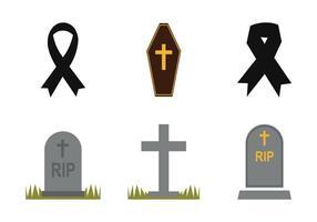 Set di icone vettoriali di lutto gratis