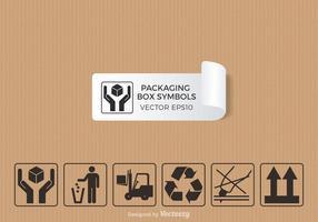 Packaging simboli vettoriali