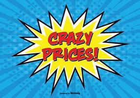 Illustrazione '' Prezzi pazzi '' promozionali stile comico
