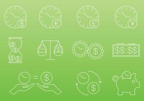 Il tempo è denaro icone vettore
