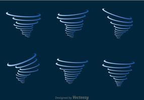 Set di icone blu tornado vettore