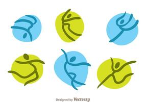 Icone della ginnasta di vettore verde e blu