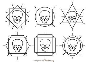 Icone di vettore del profilo del cranio