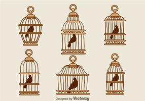 Vettori di gabbia di legno d'epoca degli uccelli