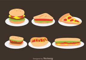 Fast Food sui vettori del piatto