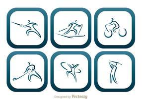 Sport tondo icone quadrate