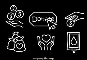 Donare icone vettoriali bianco