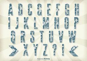 Insieme di alfabeto di stile retrò grunge