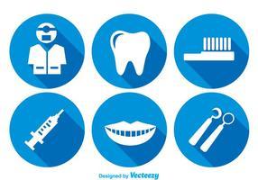 Denti cura icone lunghe ombre