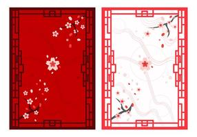 Bellissimi ornamenti giapponesi gratuiti vettore