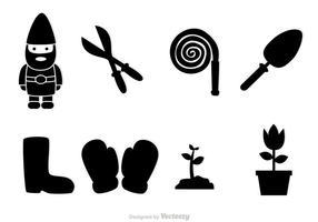 Icone nere di giardinaggio