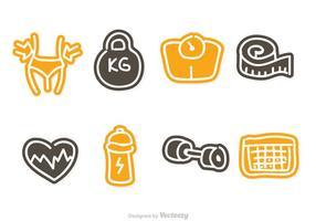 icone di dieta di doddle vettore