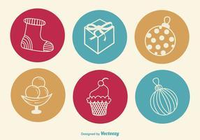Icone disegnate a mano di Natale vettore