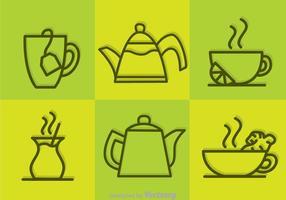 Icone di contorno del tè di vettore