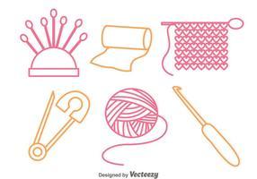 Icone di contorno di cucito