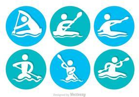 Icone del cerchio di rafting sul fiume vettore