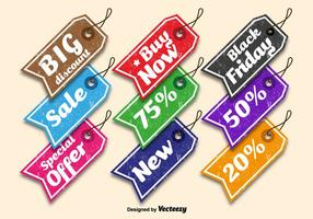 Tag di vendita colorati vettore