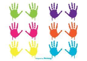 Set di impronte di mani colorate bambino gocciolante vettore