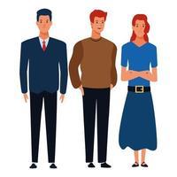 ggroup of people avatar cartoon vettore