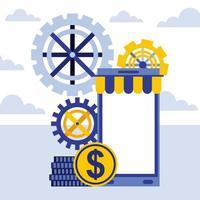 smartphone per il business online vettore
