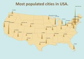La maggior parte delle città popolate USA vettore