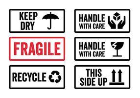 Maneggiare con cura adesivi in vettoriale