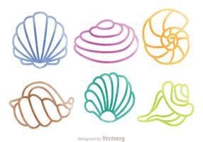 Set di sagome colorate di conchiglie di perle vettore