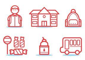 Set di icone di scuolabus vettore