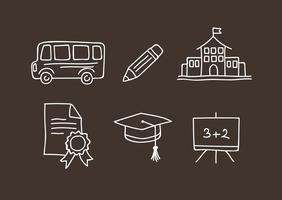 Scuola Doodle icone vettoriali
