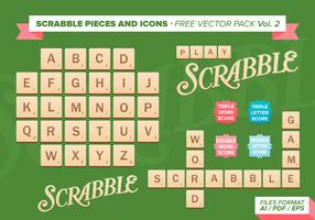 Pacchetto di vettore di pezzi e icone di Scrabble