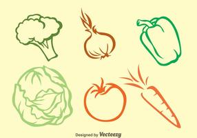 Icone di contorno di colori vegetali vettore