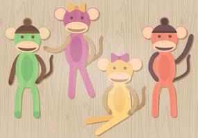 Illustrazione vettoriale di scimmia calzino