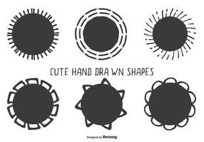 Set di forme assortite stile carino disegnato a mano vettore